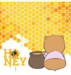 postcard with a bear and honey vector image vector image