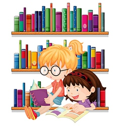 Two friends reading vector image