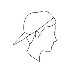 avatar head guy young profile outline vector image