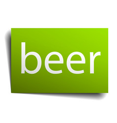 beer green paper sign on white background vector image vector image