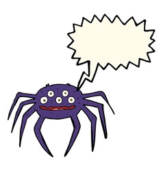 cartoon halloween spider with speech bubble vector image vector image