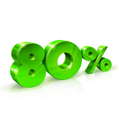 glossy green 80 eighty percent off sale isolated vector image