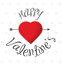 Glossy Happy Valentine s label with heart vector image