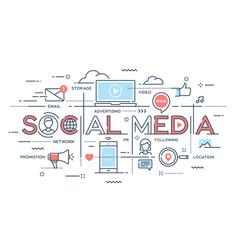 social media network video marketing thin line vector image vector image