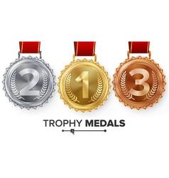winner gold silver bronze medals set vector image vector image