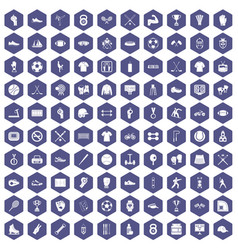 100 athlete icons hexagon purple vector