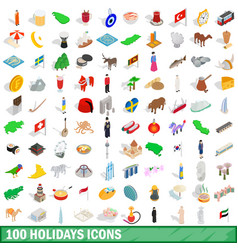 100 holidays icons set isometric 3d style vector image