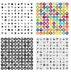 100 urban planning icons set variant vector