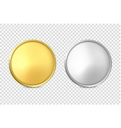 3d realistic blank golden and silver metal vector image