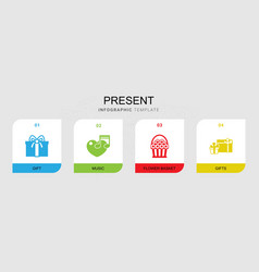 4 present filled icons set isolated on infographic vector