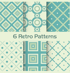 6 retro patterns set vector