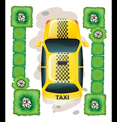 A topview of a yellow taxi vector