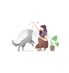 a woman with her pet vector image