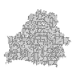 Abstract schematic map of belarus from the black vector