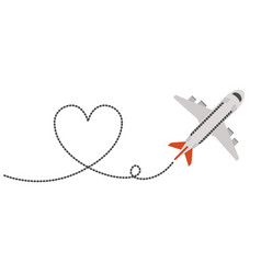 airplane flying with heart vector image