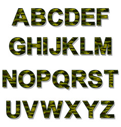 alphabet military camouflage vector image