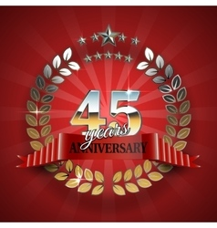 Anniversary 45th ring with red ribbon vector image