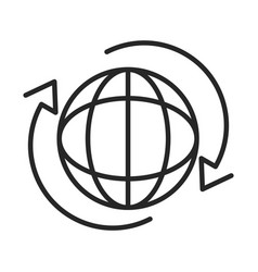 around world connection line style icon vector image