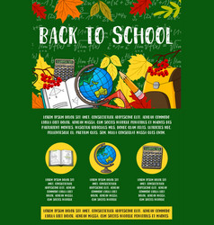 Back to school stationery chalkboard poster vector