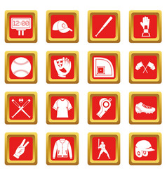 Baseball icons set red vector