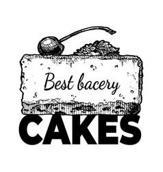 best bakery cakes vintage label vector image