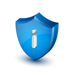 big blue glossy information shield with letter i vector image