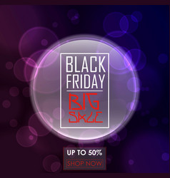 Black friday sale poster design with purple round vector