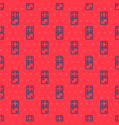Blue line domino icon isolated seamless pattern on vector