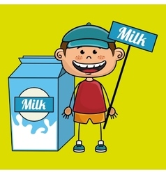 Boy milk box vector