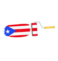 brush stroke with puerto rico national flag vector image