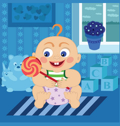 Cartoon baby with sugar candy in the room vector