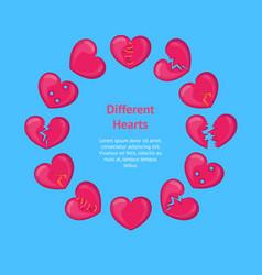 Cartoon broken hearts banner card circle vector