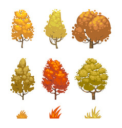 cartoon style autumn trees and grass isolated on vector image