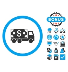 Cash Delivery Flat Icon with Bonus vector image