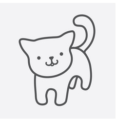 Cat icon cute kitty charm in simple lines vector