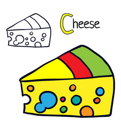 cheese coloring book page vector image