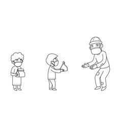 Children giving sadaqah to poor people character vector