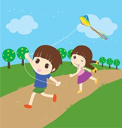 Children playing kite vector