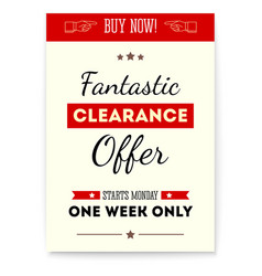 clearance sale fantastic offer vintage poster vector image