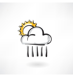 cloud and the sun grunge icon vector image