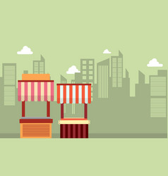 collection of street stall landscape vector image