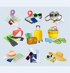 compositions with items related to travel theme vector image