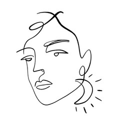 continuous line drawing face moon earring vector image