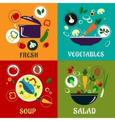 Cooking concept with vegetables and ingredients vector image