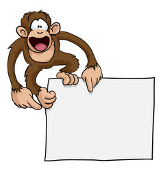 Crazy cute monkey sign vector