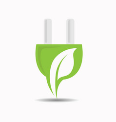 creative electric plugs with a leaf inside vector image