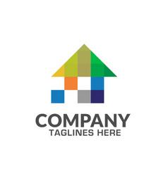 creative pixel house logo vector image