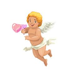 Cupid blowing a soap bubble heart cartoon angel vector
