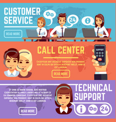 Customer service banners with call center support vector