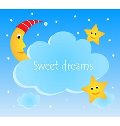 Cute card with funny moon and stars vector image